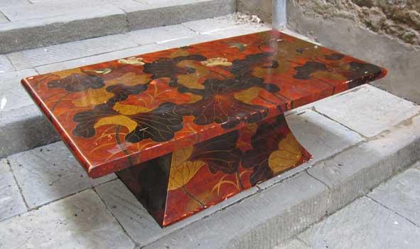 tavoli da fumo con vetri : Tavolino da fumo, con decorazioni a lacca
